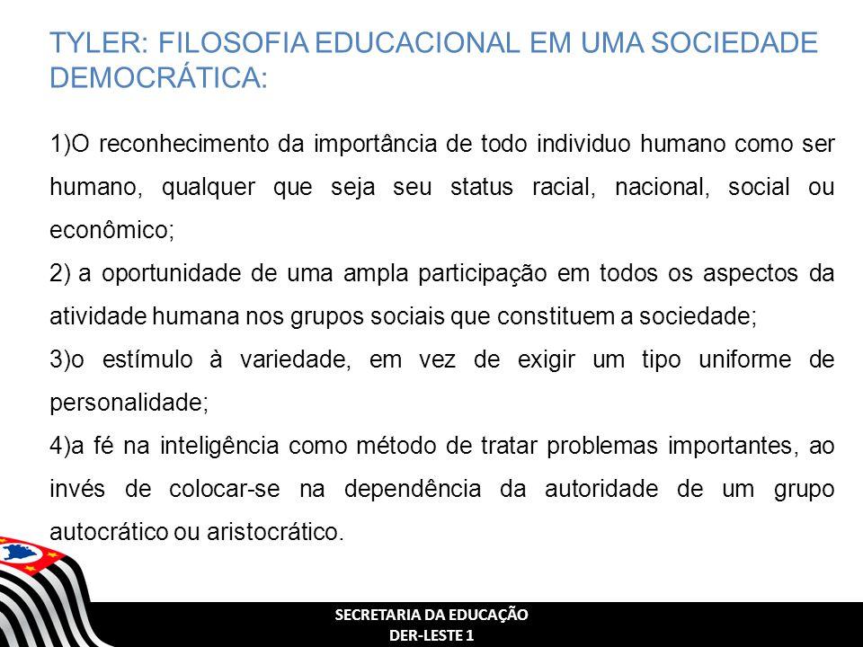 SECRETARIA DA EDUCAÇÃO DER-LESTE 1 TYLER: FILOSOFIA EDUCACIONAL EM UMA SOCIEDADE DEMOCRÁTICA: 1)O reconhecimento da importância de todo individuo huma
