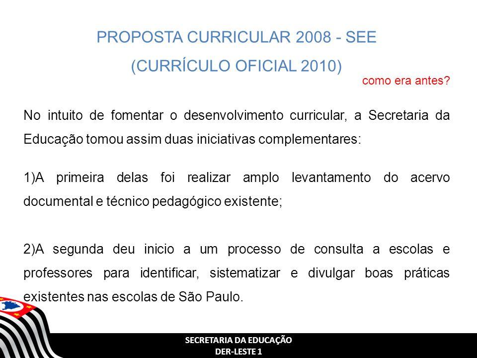 SECRETARIA DA EDUCAÇÃO DER-LESTE 1 PROPOSTA CURRICULAR 2008 - SEE (CURRÍCULO OFICIAL 2010) No intuito de fomentar o desenvolvimento curricular, a Secr