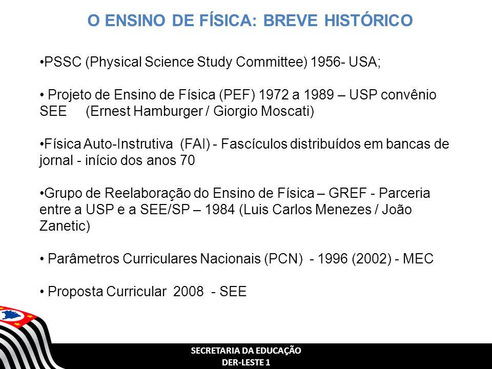 SECRETARIA DA EDUCAÇÃO DER-LESTE 1 O ENSINO DE FÍSICA: BREVE HISTÓRICO PSSC (Physical Science Study Committee) 1956- USA; Projeto de Ensino de Física