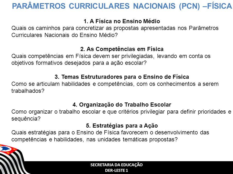 SECRETARIA DA EDUCAÇÃO DER-LESTE 1 PARÂMETROS CURRICULARES NACIONAIS (PCN) –FÍSICA 1.