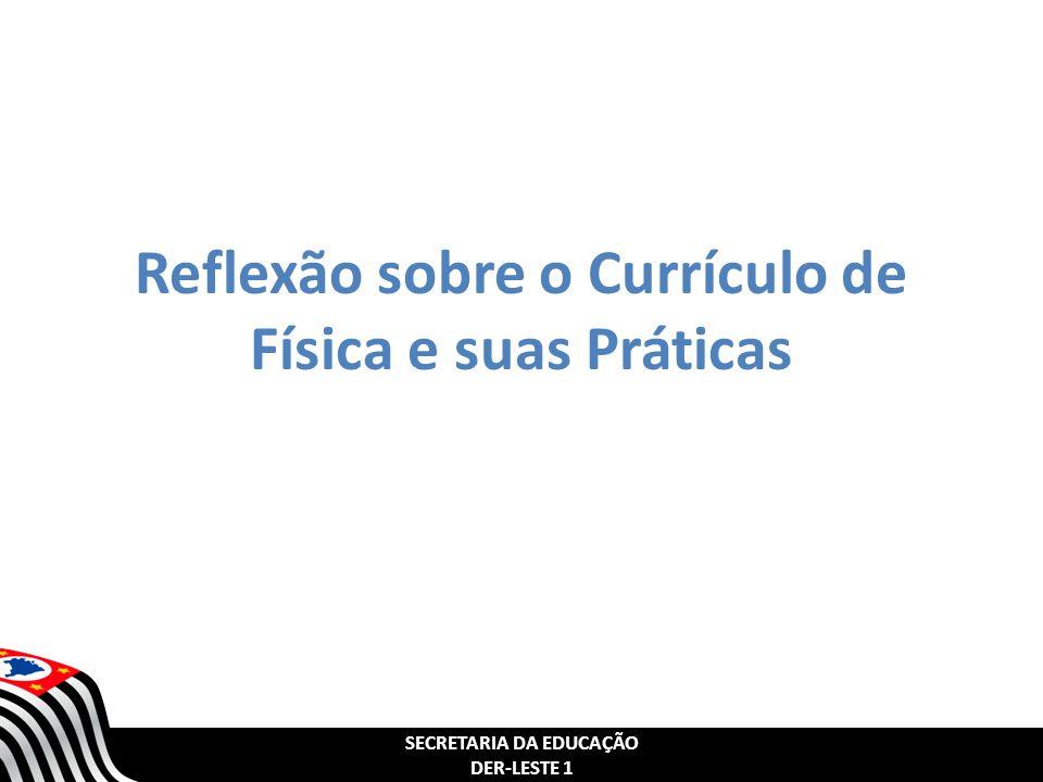 SECRETARIA DA EDUCAÇÃO DER-LESTE 1 SECRETARIA DA EDUCAÇÃO DER-LESTE 1 OBJETIVOS: Refletir sobre a concepção do Currículo de Física da SEE - São Paulo, com foco em Competências e Habilidades; Refletir sobre a articulação do Currículo com os PCNs; Conhecer estratégias e metodologias presentes no Currículo de Física; Possibilitar a troca de boas práticas entre os professores de Física da DE Leste 1.