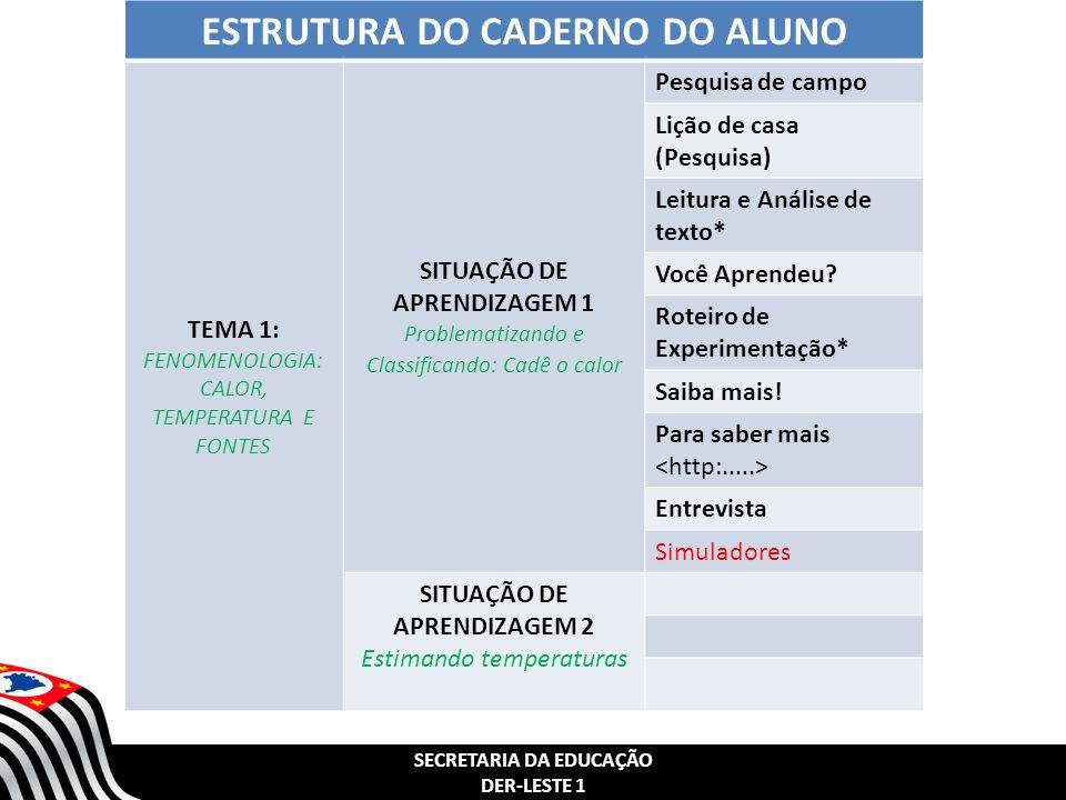 SECRETARIA DA EDUCAÇÃO DER-LESTE 1 ESTRUTURA DO CADERNO DO ALUNO TEMA 1: FENOMENOLOGIA: CALOR, TEMPERATURA E FONTES SITUAÇÃO DE APRENDIZAGEM 1 Problematizando e Classificando: Cadê o calor Pesquisa de campo Lição de casa (Pesquisa) Leitura e Análise de texto* Você Aprendeu.
