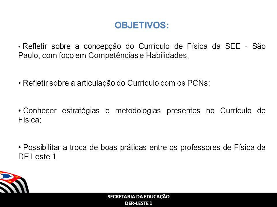 SECRETARIA DA EDUCAÇÃO DER-LESTE 1 SECRETARIA DA EDUCAÇÃO DER-LESTE 1 OBJETIVOS: Refletir sobre a concepção do Currículo de Física da SEE - São Paulo,