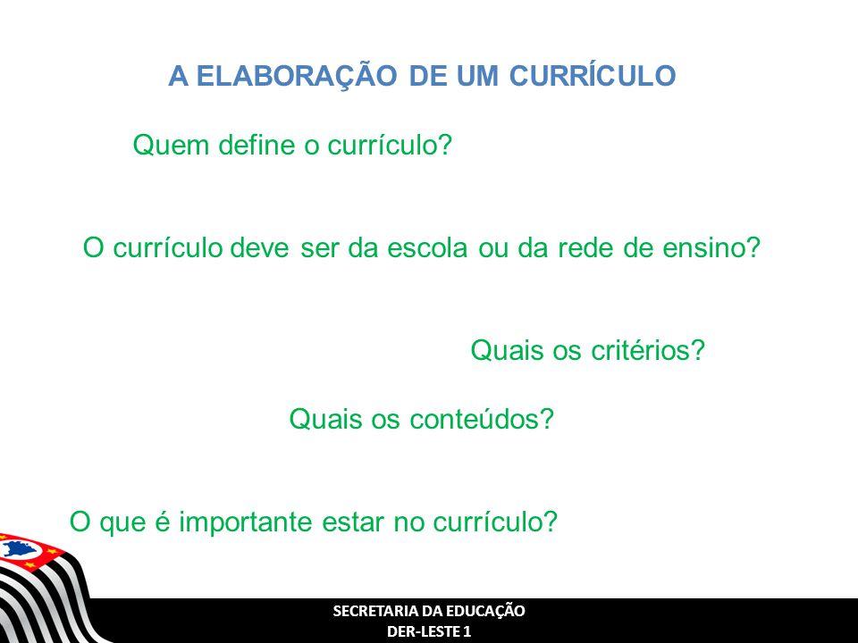 SECRETARIA DA EDUCAÇÃO DER-LESTE 1 A ELABORAÇÃO DE UM CURRÍCULO Quem define o currículo? O currículo deve ser da escola ou da rede de ensino? Quais os