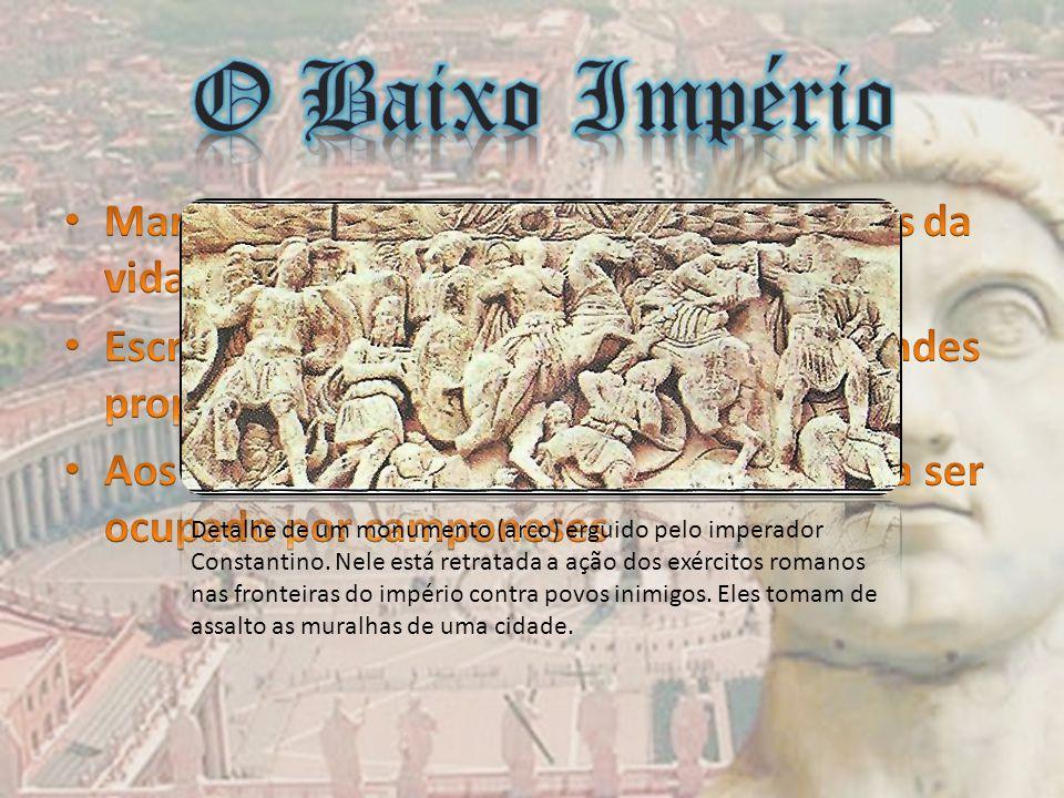 Detalhe de um monumento (arco) erguido pelo imperador Constantino. Nele está retratada a ação dos exércitos romanos nas fronteiras do império contra p