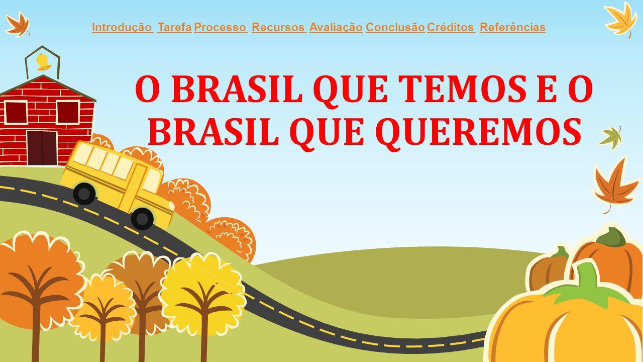 O BRASIL QUE TEMOS E O BRASIL QUE QUEREMOS Introdução Introdução Tarefa Processo Recursos Avaliação Conclusão Créditos ReferênciasTarefaProcesso Recur