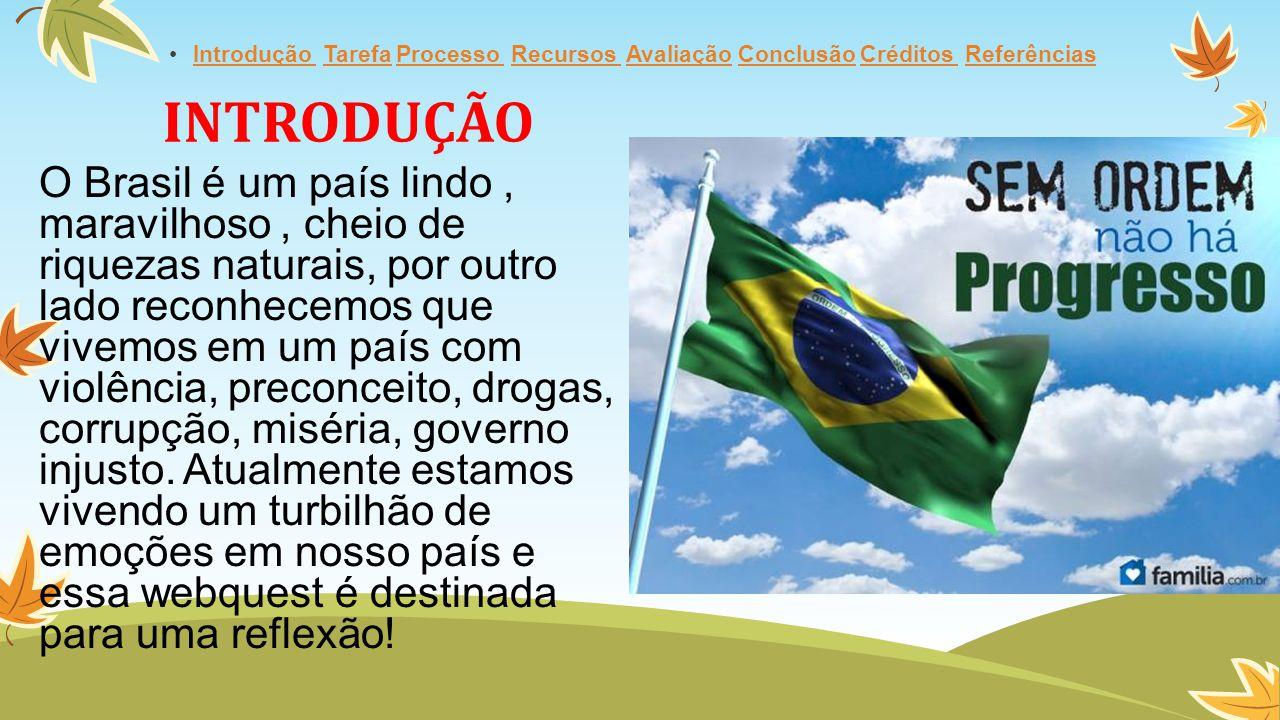 INTRODUÇÃO O Brasil é um país lindo, maravilhoso, cheio de riquezas naturais, por outro lado reconhecemos que vivemos em um país com violência, preconceito, drogas, corrupção, miséria, governo injusto.