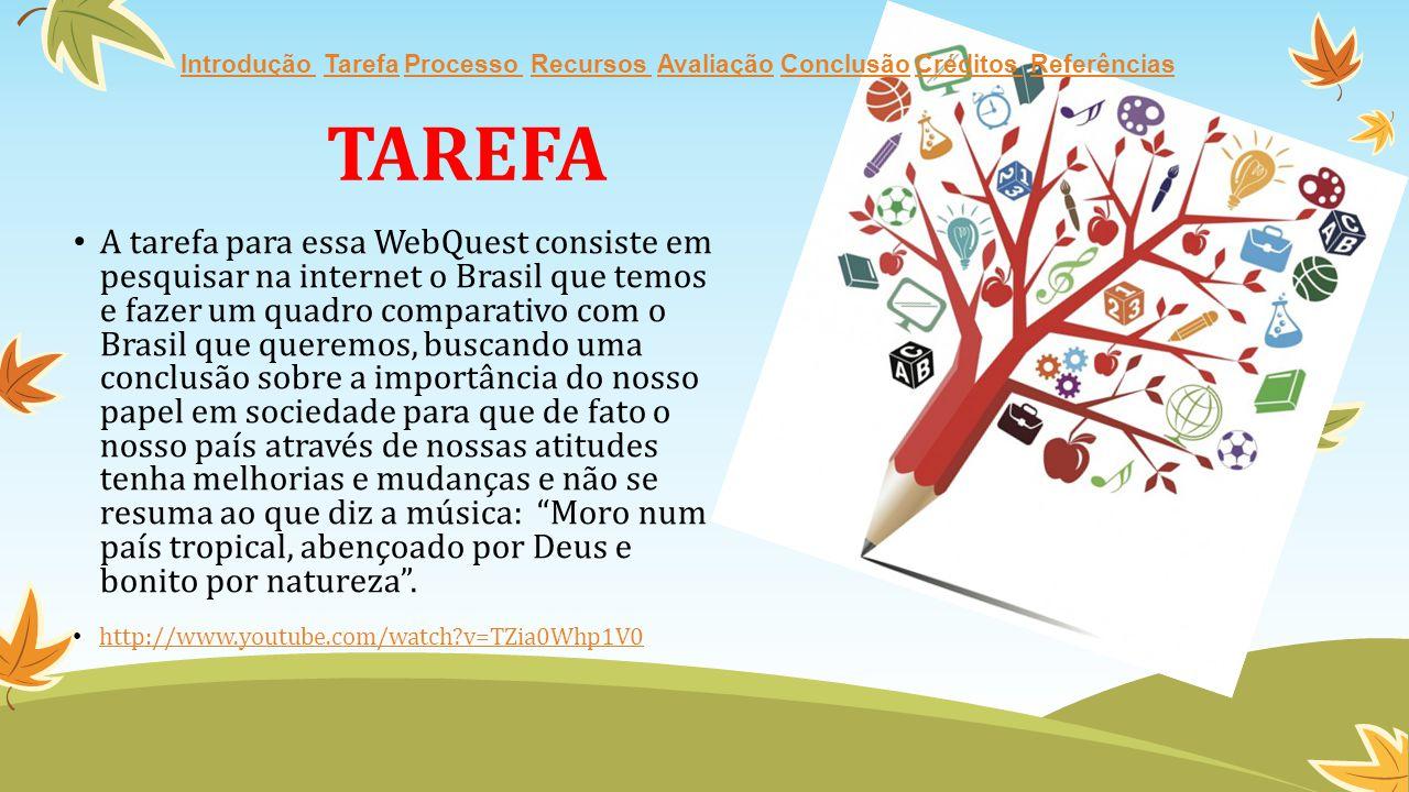 A tarefa para essa WebQuest consiste em pesquisar na internet o Brasil que temos e fazer um quadro comparativo com o Brasil que queremos, buscando uma