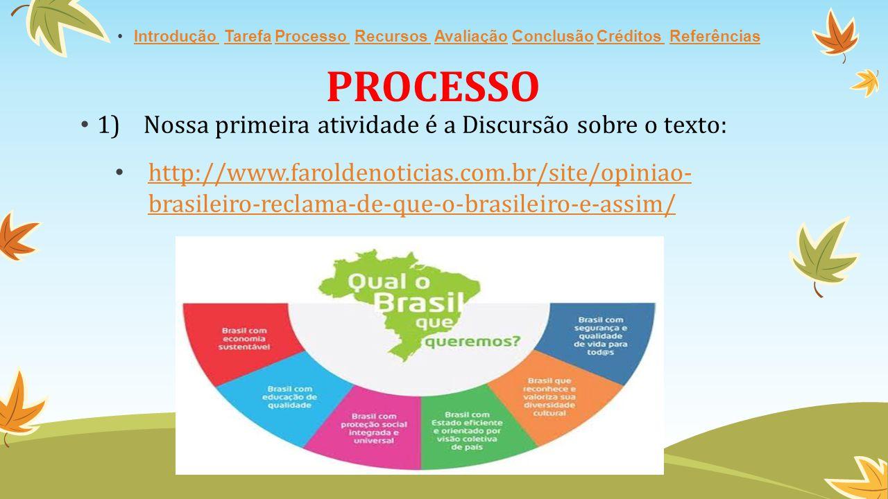 PROCESSO 1)Nossa primeira atividade é a Discursão sobre o texto: http://www.faroldenoticias.com.br/site/opiniao- brasileiro-reclama-de-que-o-brasileiro-e-assim/http://www.faroldenoticias.com.br/site/opiniao- brasileiro-reclama-de-que-o-brasileiro-e-assim/ Introdução Tarefa Processo Recursos Avaliação Conclusão Créditos ReferênciasIntrodução TarefaProcesso Recursos AvaliaçãoConclusãoCréditos Referências