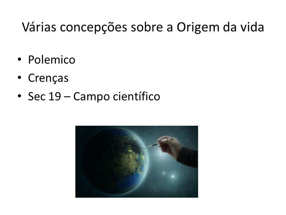 Várias concepções sobre a Origem da vida Polemico Crenças Sec 19 – Campo científico