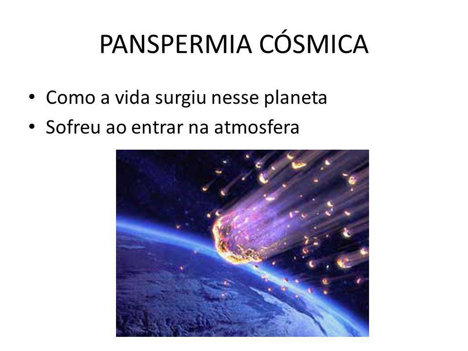 PANSPERMIA CÓSMICA Como a vida surgiu nesse planeta Sofreu ao entrar na atmosfera
