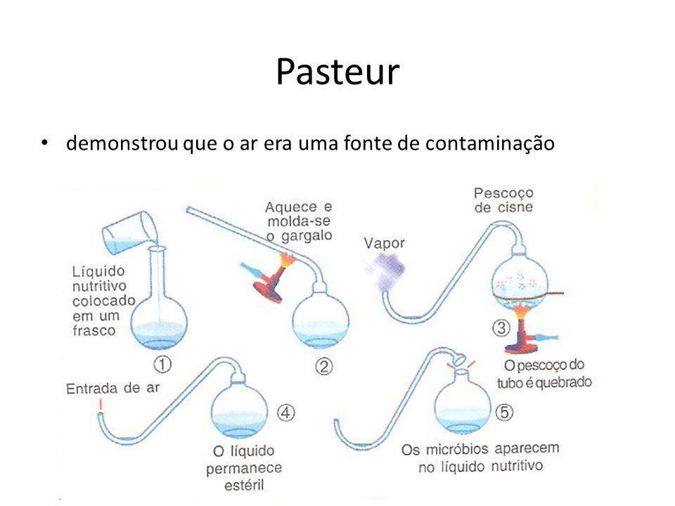 Pasteur demonstrou que o ar era uma fonte de contaminação