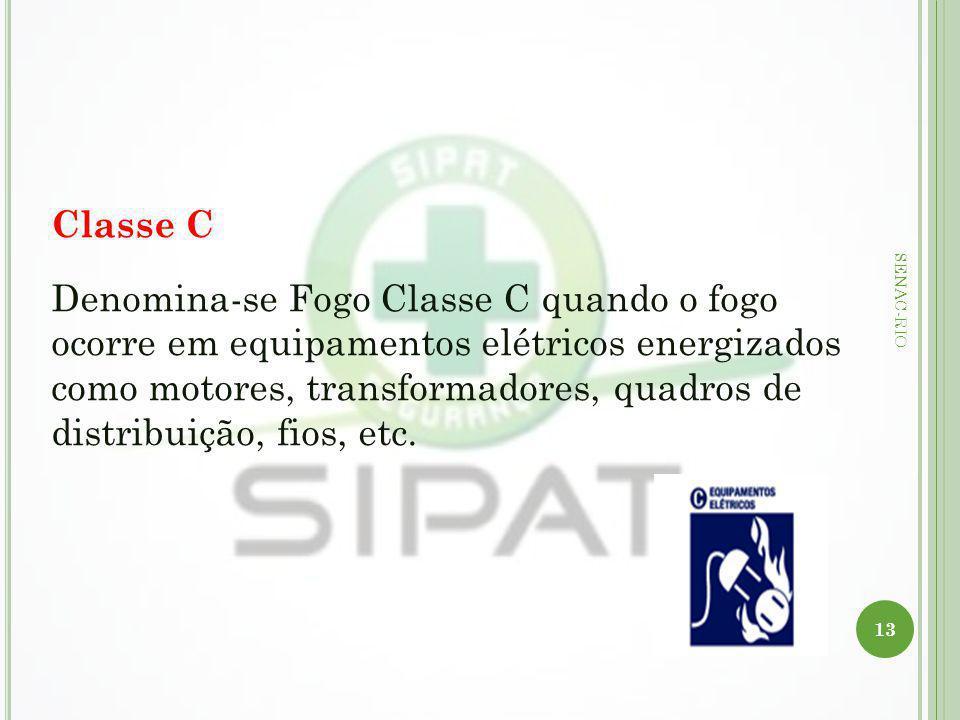 13 SENAC-RIO Classe C Denomina-se Fogo Classe C quando o fogo ocorre em equipamentos elétricos energizados como motores, transformadores, quadros de d