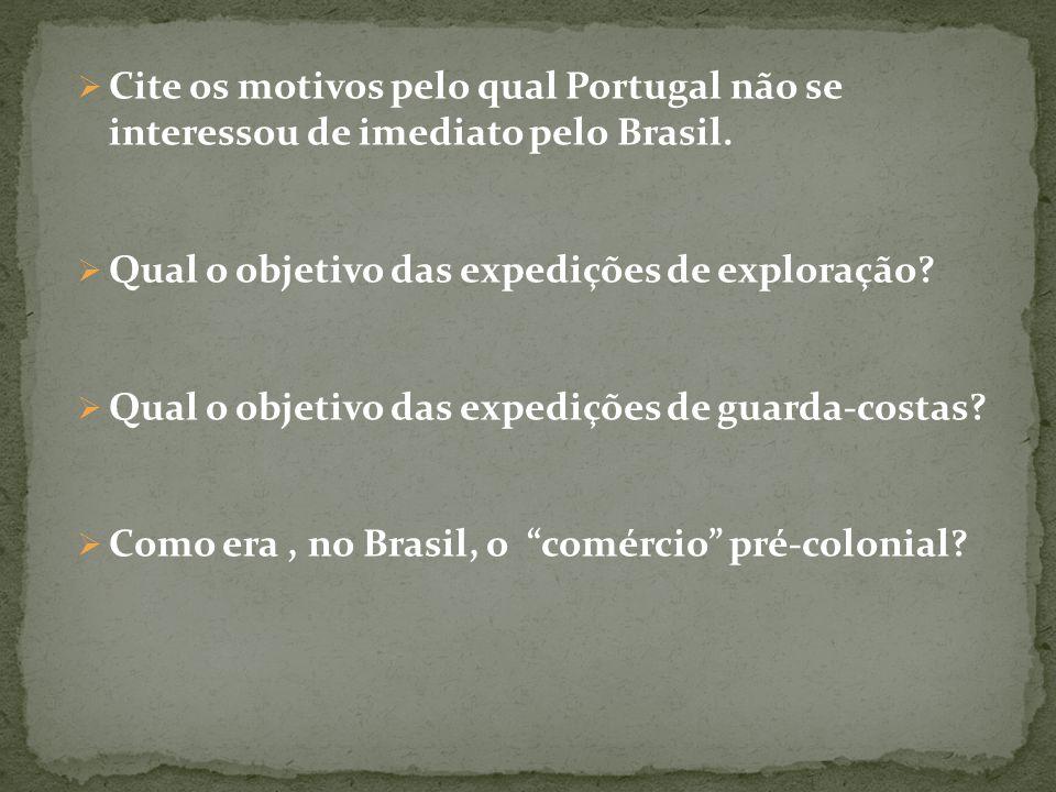 Cite os motivos pelo qual Portugal não se interessou de imediato pelo Brasil. Qual o objetivo das expedições de exploração? Qual o objetivo das expedi