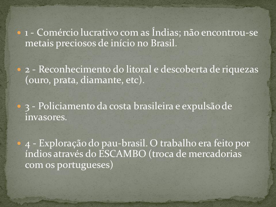1 - Comércio lucrativo com as Índias; não encontrou-se metais preciosos de início no Brasil. 2 - Reconhecimento do litoral e descoberta de riquezas (o