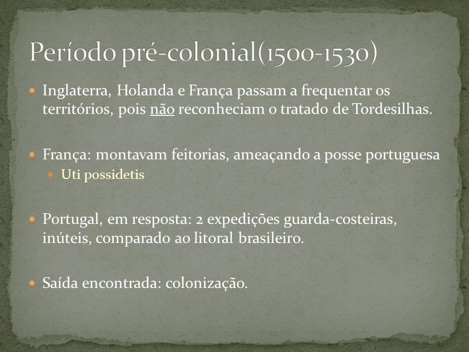 Inglaterra, Holanda e França passam a frequentar os territórios, pois não reconheciam o tratado de Tordesilhas. França: montavam feitorias, ameaçando