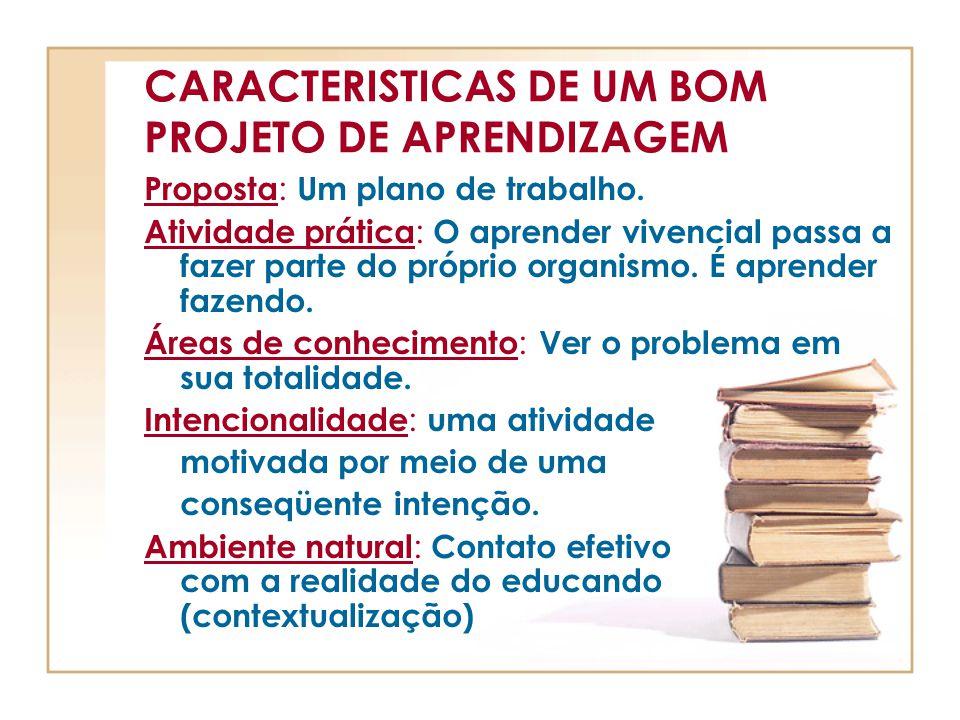 CARACTERISTICAS DE UM BOM PROJETO DE APRENDIZAGEM Proposta : Um plano de trabalho. Atividade prática : O aprender vivencial passa a fazer parte do pró