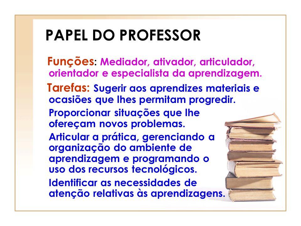 PAPEL DO PROFESSOR Funções : Mediador, ativador, articulador, orientador e especialista da aprendizagem. Tarefas: Sugerir aos aprendizes materiais e o