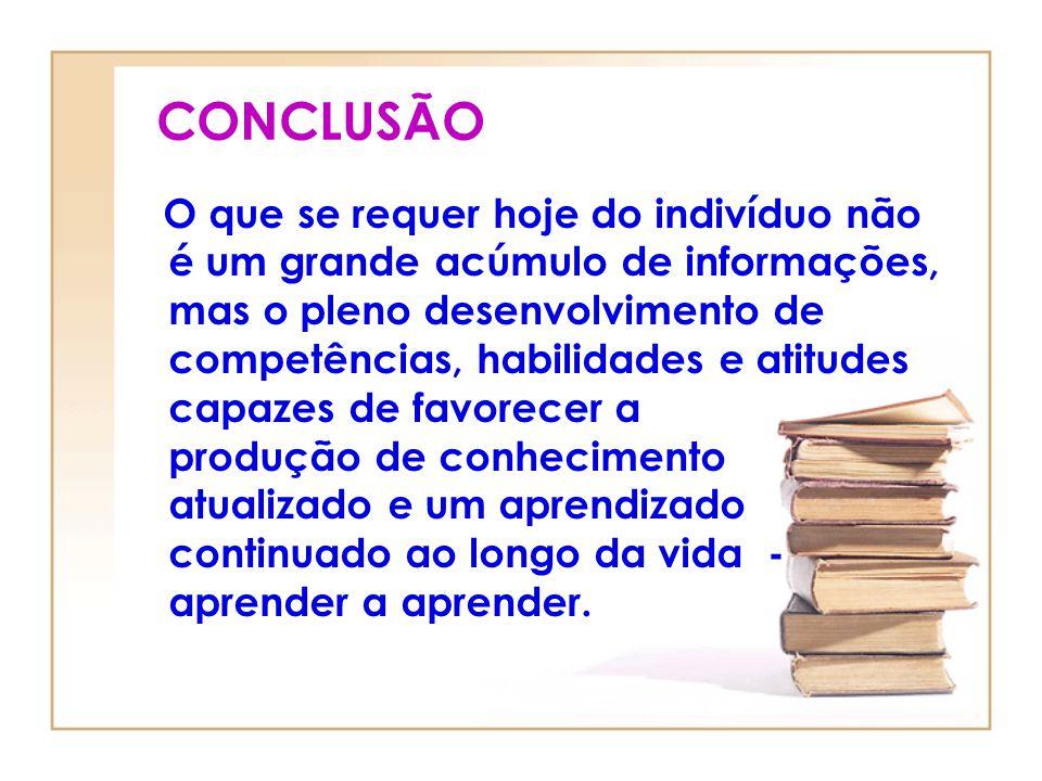 CONCLUSÃO O que se requer hoje do indivíduo não é um grande acúmulo de informações, mas o pleno desenvolvimento de competências, habilidades e atitude