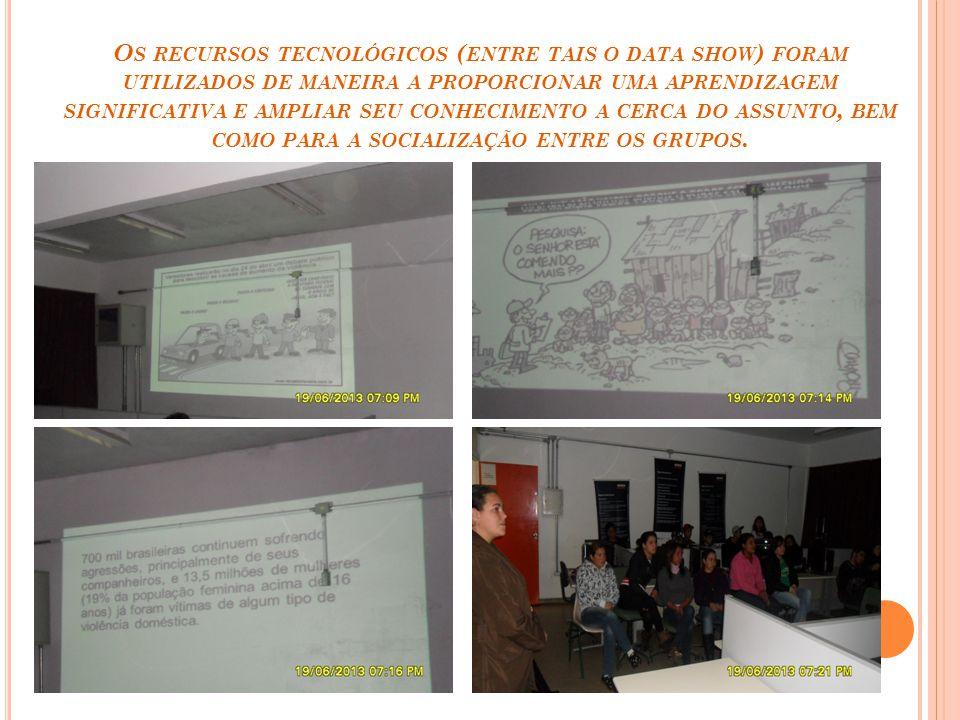 O S RECURSOS TECNOLÓGICOS ( ENTRE TAIS O DATA SHOW ) FORAM UTILIZADOS DE MANEIRA A PROPORCIONAR UMA APRENDIZAGEM SIGNIFICATIVA E AMPLIAR SEU CONHECIME