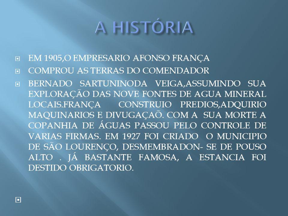 EM 1905,O EMPRESARIO AFONSO FRANÇA COMPROU AS TERRAS DO COMENDADOR BERNADO SARTUNINODA VEIGA,ASSUMINDO SUA EXPLORAÇÃO DAS NOVE FONTES DE AGUA MINERAL LOCAIS.FRANÇA CONSTRUIO PREDIOS,ADQUIRIO MAQUINARIOS E DIVUGAÇAÕ.