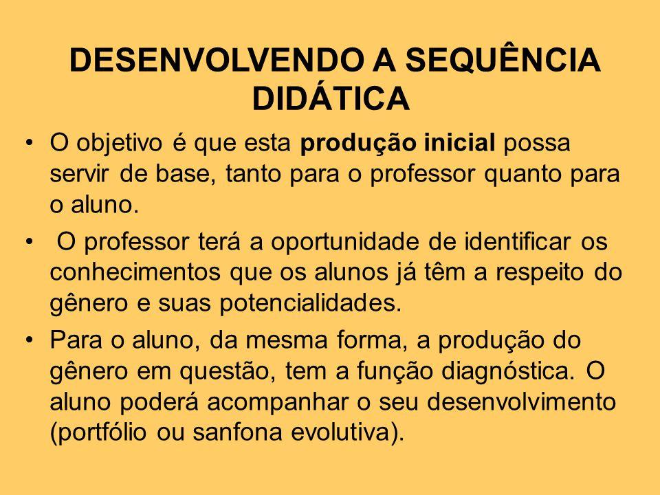 DESENVOLVENDO A SEQUÊNCIA DIDÁTICA O objetivo é que esta produção inicial possa servir de base, tanto para o professor quanto para o aluno.