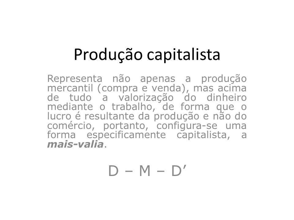 Produção capitalista Representa não apenas a produção mercantil (compra e venda), mas acima de tudo a valorização do dinheiro mediante o trabalho, de
