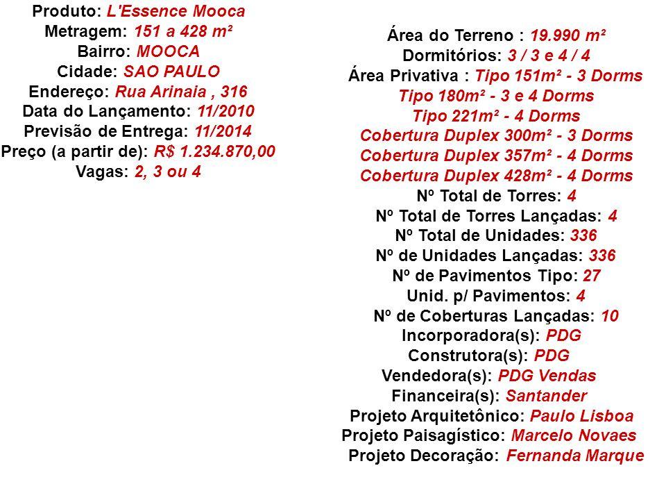 Produto: L'Essence Mooca Metragem: 151 a 428 m² Bairro: MOOCA Cidade: SAO PAULO Endereço: Rua Arinaia, 316 Data do Lançamento: 11/2010 Previsão de Ent