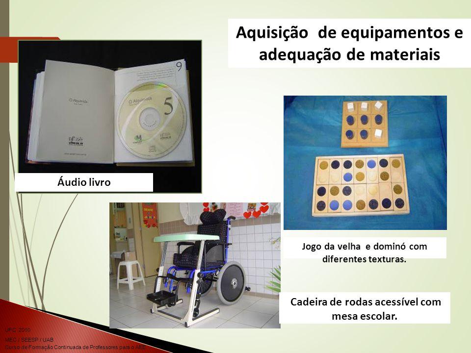 Curso de Formação Continuada de Professores para o AEE UFC 2010 MEC / SEESP / UAB Jogo da velha e dominó com diferentes texturas. Cadeira de rodas ace