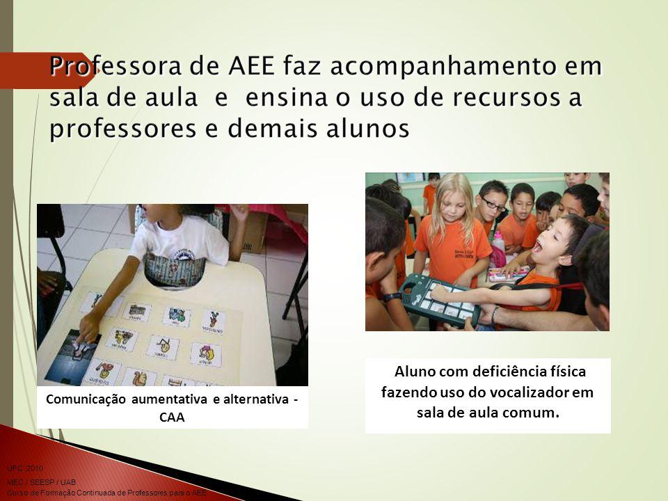 Curso de Formação Continuada de Professores para o AEE UFC 2010 MEC / SEESP / UAB Comunicação aumentativa e alternativa - CAA Aluno com deficiência física fazendo uso do vocalizador em sala de aula comum.