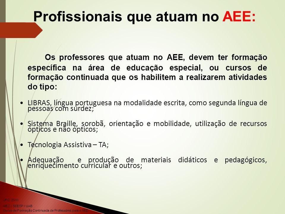 Curso de Formação Continuada de Professores para o AEE UFC 2010 MEC / SEESP / UAB Os professores que atuam no AEE, devem ter formação específica na ár