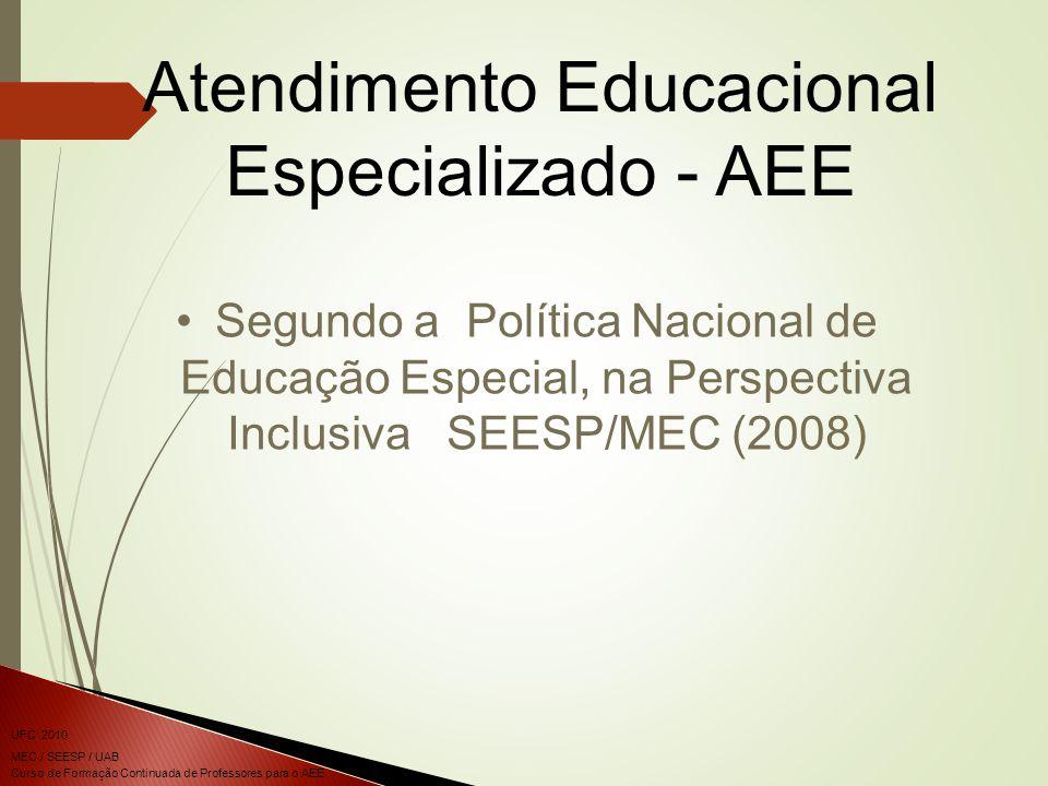 Curso de Formação Continuada de Professores para o AEE UFC 2010 MEC / SEESP / UAB Segundo a Política Nacional de Educação Especial, na Perspectiva Inclusiva SEESP/MEC (2008) Atendimento Educacional Especializado - AEE