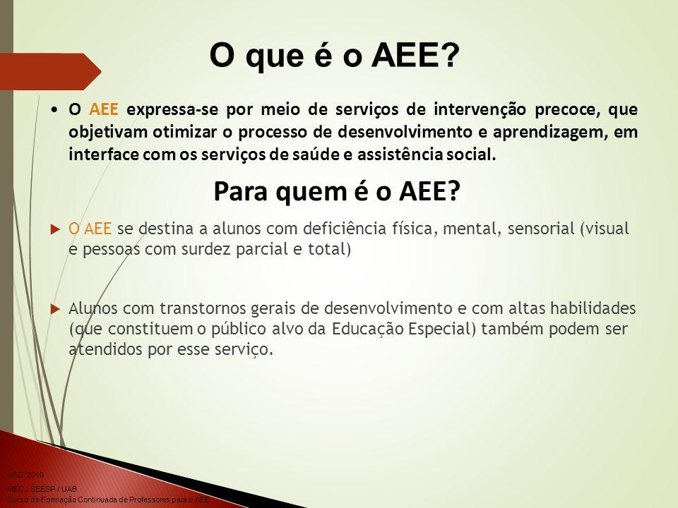 Curso de Formação Continuada de Professores para o AEE UFC 2010 MEC / SEESP / UAB O AEE expressa-se por meio de serviços de intervenção precoce, que objetivam otimizar o processo de desenvolvimento e aprendizagem, em interface com os serviços de saúde e assistência social.