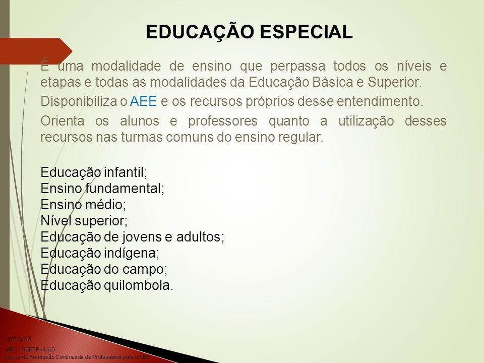 Curso de Formação Continuada de Professores para o AEE UFC 2010 MEC / SEESP / UAB EDUCAÇÃO ESPECIAL É uma modalidade de ensino que perpassa todos os níveis e etapas e todas as modalidades da Educação Básica e Superior.