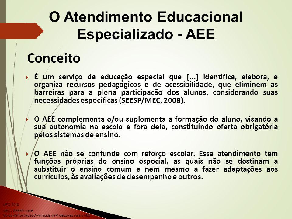 Curso de Formação Continuada de Professores para o AEE UFC 2010 MEC / SEESP / UAB É um serviço da educação especial que [...] identifica, elabora, e organiza recursos pedagógicos e de acessibilidade, que eliminem as barreiras para a plena participação dos alunos, considerando suas necessidades específicas (SEESP/MEC, 2008).