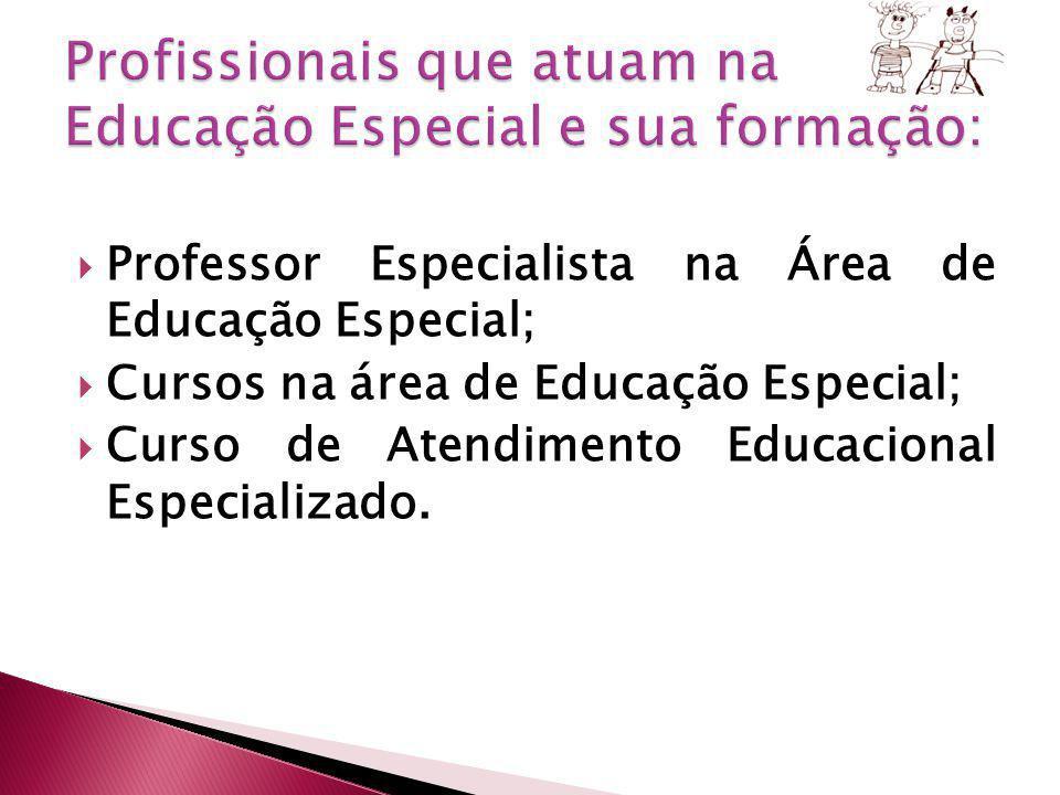 Professor Especialista na Área de Educação Especial; Cursos na área de Educação Especial; Curso de Atendimento Educacional Especializado.