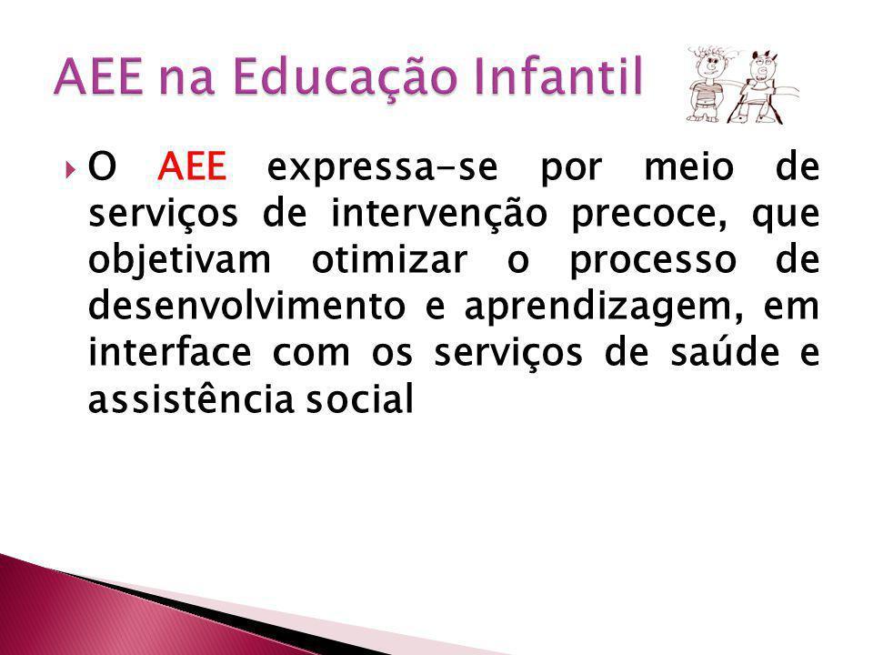 O AEE expressa-se por meio de serviços de intervenção precoce, que objetivam otimizar o processo de desenvolvimento e aprendizagem, em interface com os serviços de saúde e assistência social