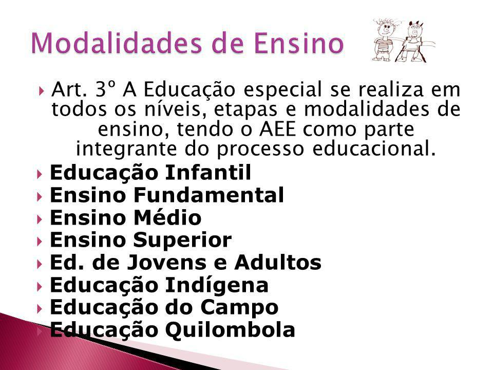 Art. 3º A Educação especial se realiza em todos os níveis, etapas e modalidades de ensino, tendo o AEE como parte integrante do processo educacional.
