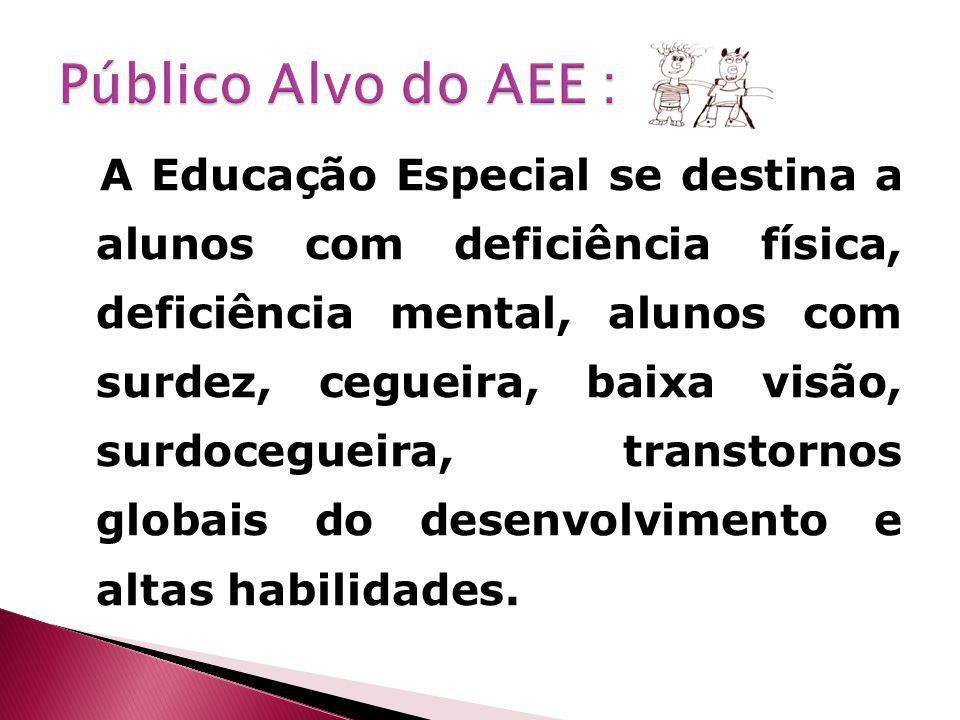 A Educação Especial se destina a alunos com deficiência física, deficiência mental, alunos com surdez, cegueira, baixa visão, surdocegueira, transtornos globais do desenvolvimento e altas habilidades.