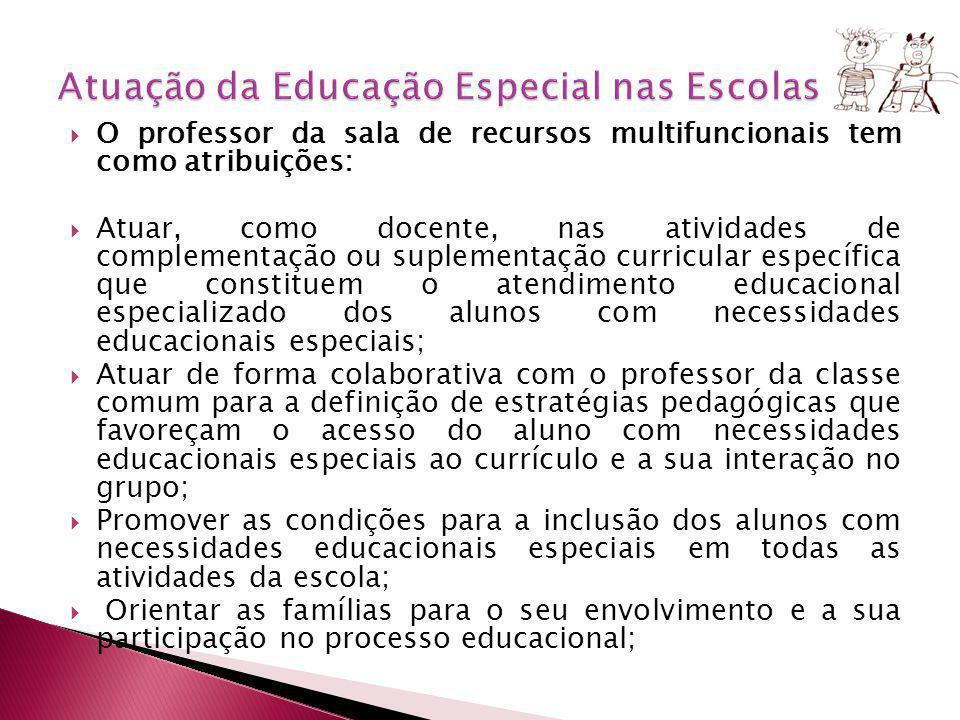 O professor da sala de recursos multifuncionais tem como atribuições: Atuar, como docente, nas atividades de complementação ou suplementação curricula