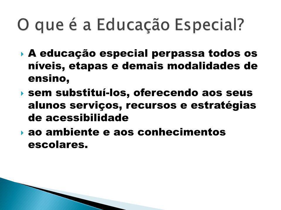 A educação especial perpassa todos os níveis, etapas e demais modalidades de ensino, sem substituí-los, oferecendo aos seus alunos serviços, recursos e estratégias de acessibilidade ao ambiente e aos conhecimentos escolares.