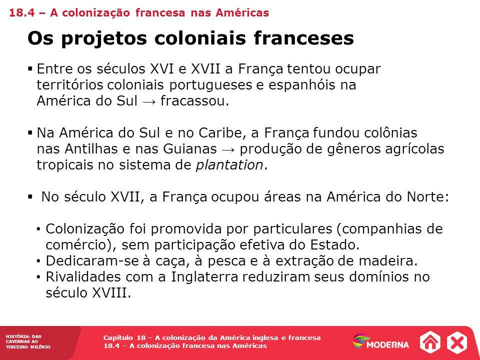 HISTÓRIA: DAS CAVERNAS AO TERCEIRO MILÊNIO Capítulo 18 – A colonização da América inglesa e francesa 18.4 – A colonização francesa nas Américas Entre