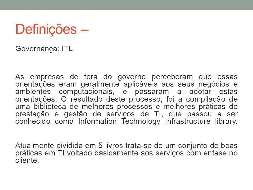 Definições – Governança: ITL As empresas de fora do governo perceberam que essas orientações eram geralmente aplicáveis aos seus negócios e ambientes computacionais, e passaram a adotar estas orientações.