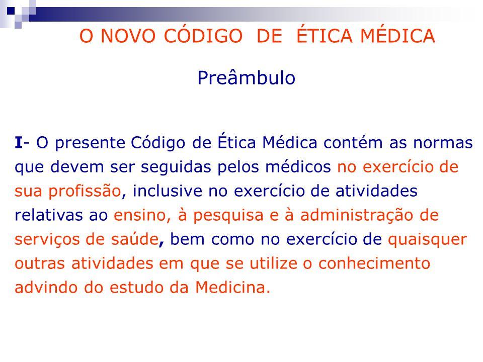 Preâmbulo I- O presente Código de Ética Médica contém as normas que devem ser seguidas pelos médicos no exercício de sua profissão, inclusive no exerc