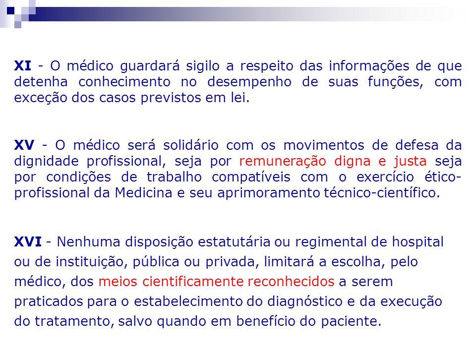 XI - O médico guardará sigilo a respeito das informações de que detenha conhecimento no desempenho de suas funções, com exceção dos casos previstos em