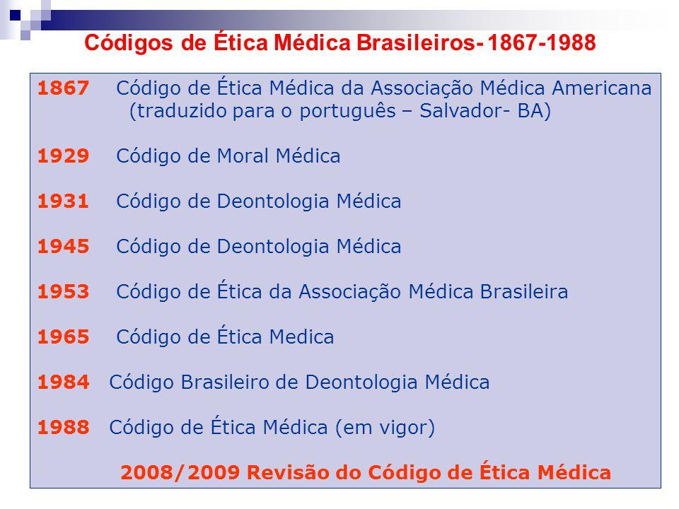 Códigos de Ética Médica Brasileiros- 1867-1988 1867 Código de Ética Médica da Associação Médica Americana (traduzido para o português – Salvador- BA)