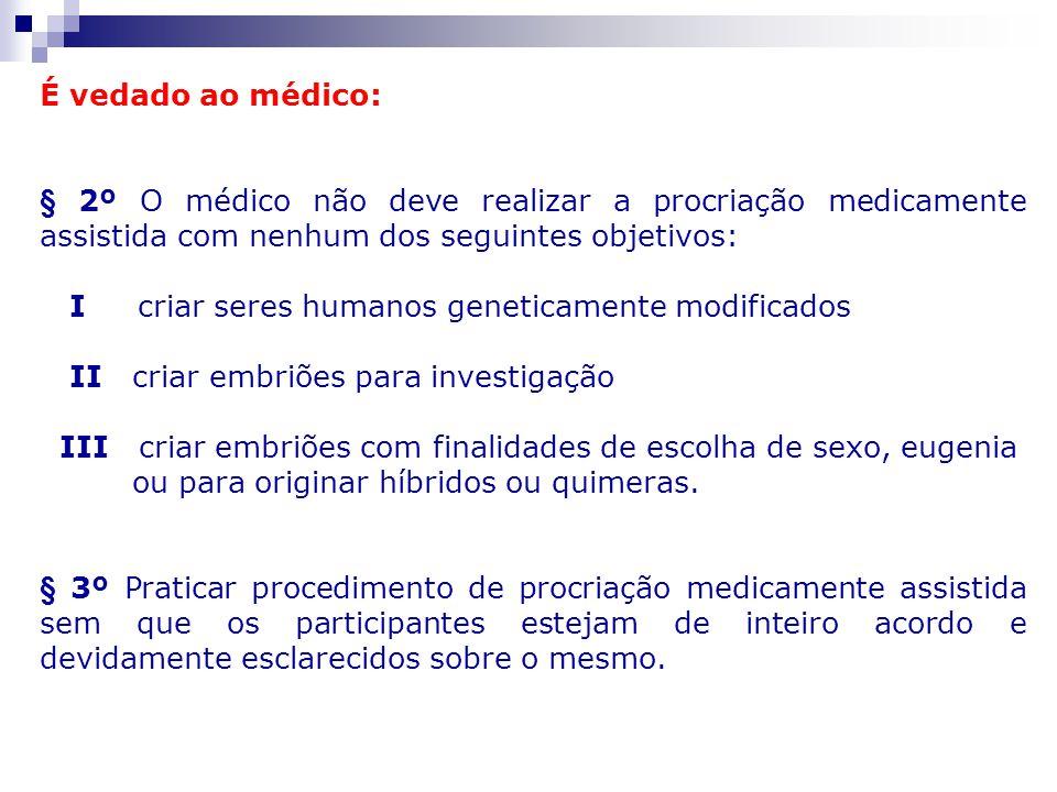 É vedado ao médico: § 2º O médico não deve realizar a procriação medicamente assistida com nenhum dos seguintes objetivos: I criar seres humanos genet