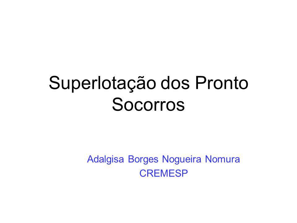 Superlotação dos Pronto Socorros Adalgisa Borges Nogueira Nomura CREMESP