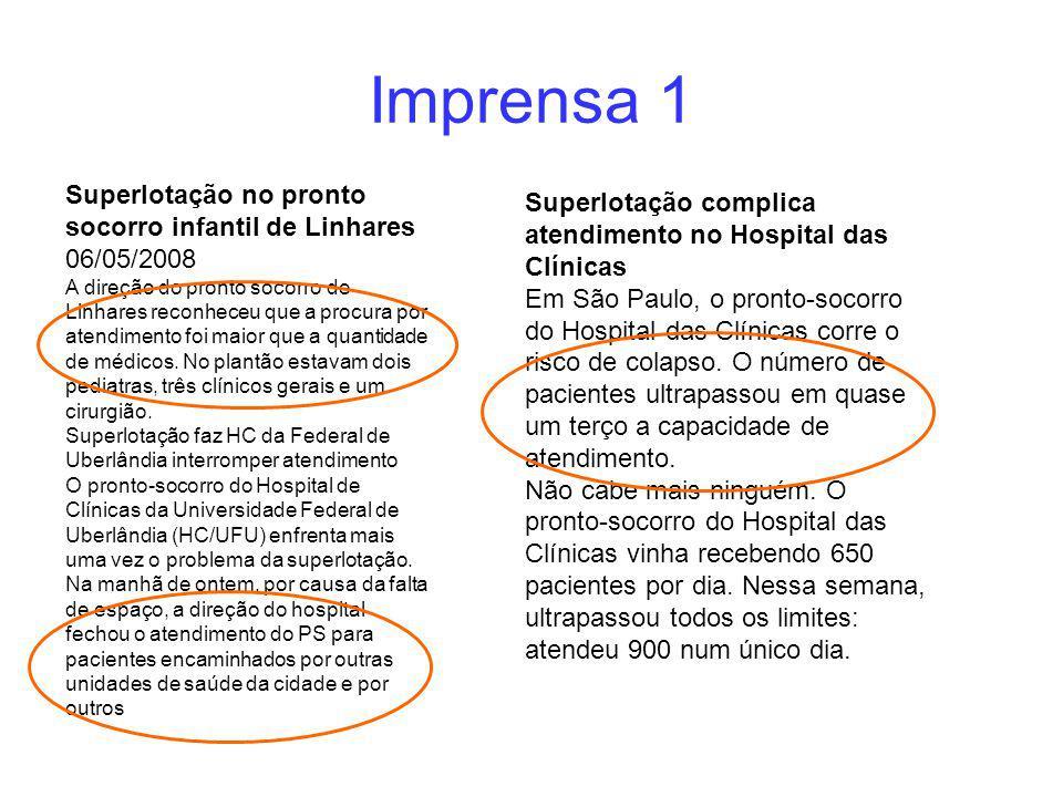 Imprensa 1 Superlotação complica atendimento no Hospital das Clínicas Em São Paulo, o pronto-socorro do Hospital das Clínicas corre o risco de colapso.