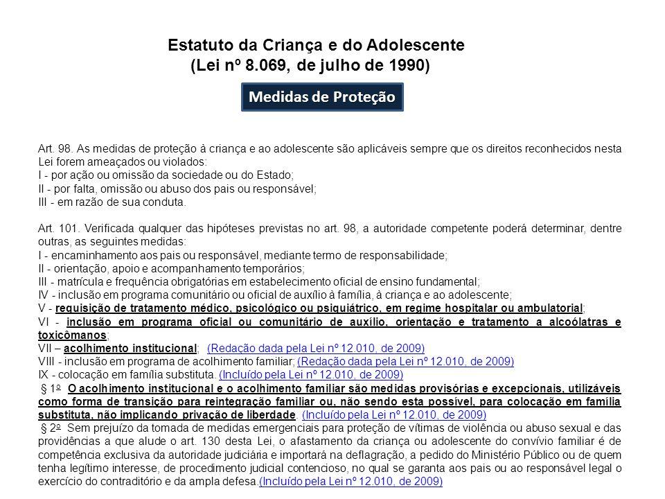 Medidas de Proteção Art. 98. As medidas de proteção à criança e ao adolescente são aplicáveis sempre que os direitos reconhecidos nesta Lei forem amea